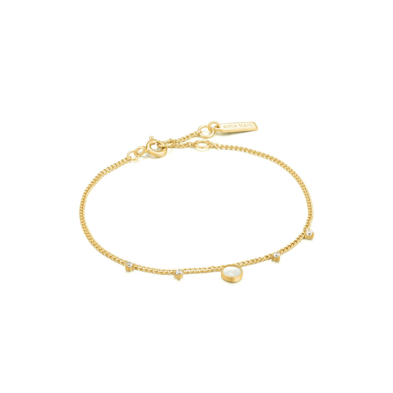 Gold Mother Of Pearl Drop Disc Bracelet - Revital Exotic Jewelry & Apparel