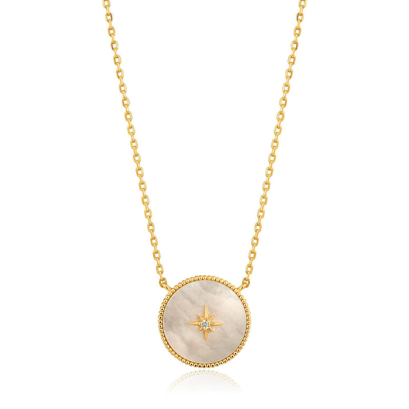 Gold Mother Of Pearl Emblem Necklace - Revital Exotic Jewelry & Apparel