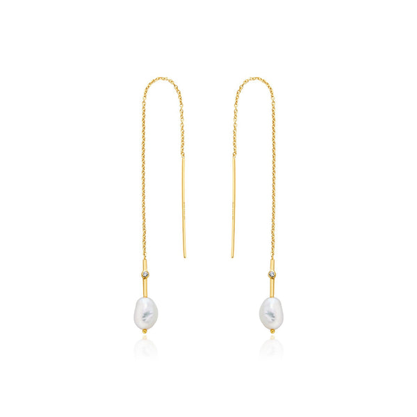 Gold Pearl Threader Earrings - Revital Exotic Jewelry & Apparel
