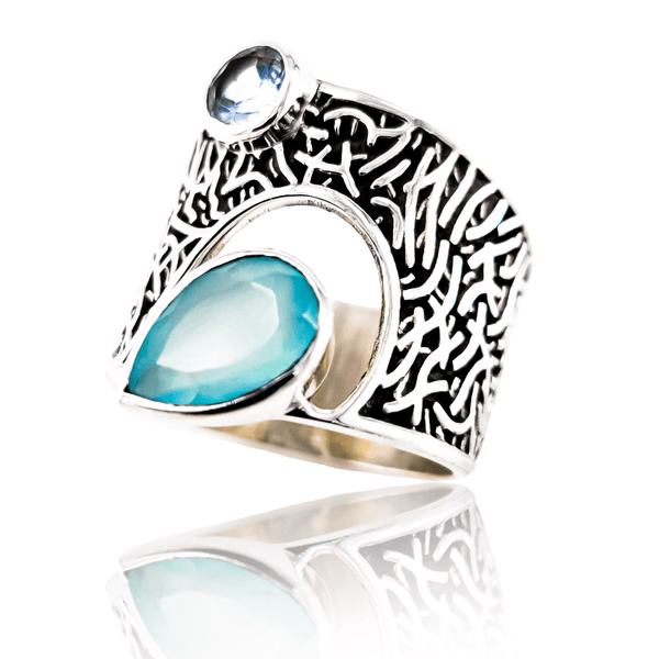 Gwenyth Aqua Chalcy Ring - Revital Exotic Jewelry & Apparel