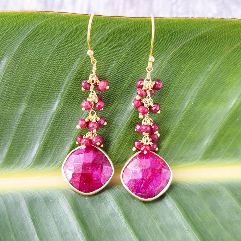 Jessamine Ruby Dangle Earrings - Revital Exotic Jewelry & Apparel