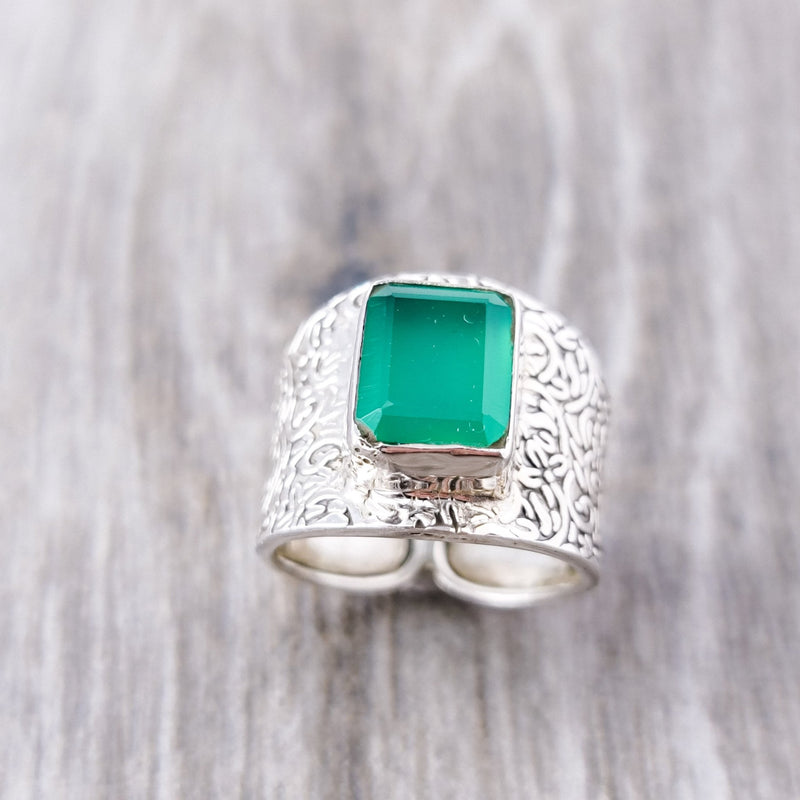 Kerala Green Solitaire Ring - Revital Exotic Jewelry & Apparel