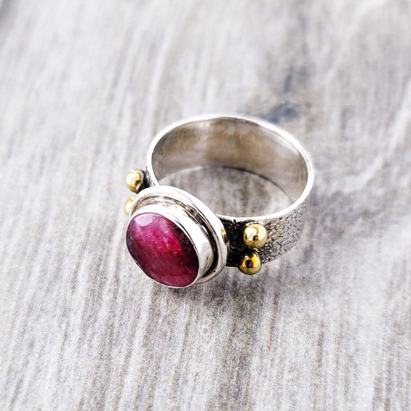 Ruby Solitaire Coctail Two Tone - Revital Exotic Jewelry & Apparel