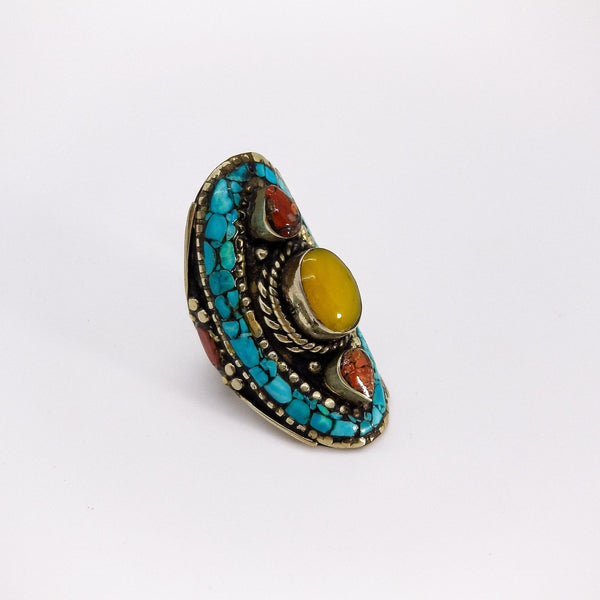 Shield Ring Amber - Revital Exotic Jewelry & Apparel