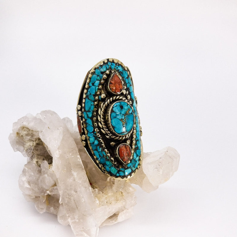 Shield Ring Turquoise - Revital Exotic Jewelry & Apparel