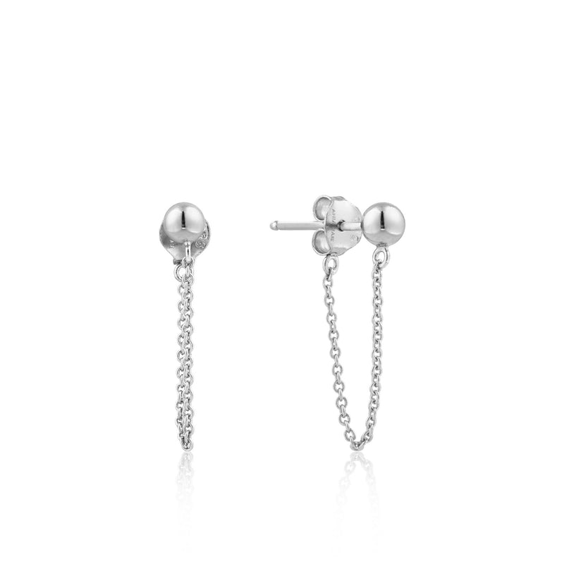 Silver Modern Chain Stud Earrings - Revital Exotic Jewelry & Apparel