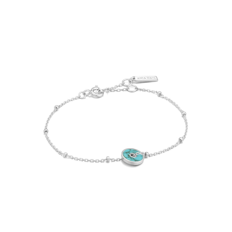 Silver Turquoise Disc Bracelet - Revital Exotic Jewelry & Apparel