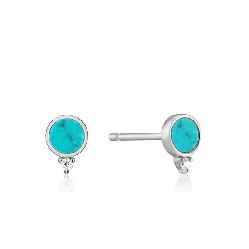 Silver Turquoise Stud Earrings - Revital Exotic Jewelry & Apparel