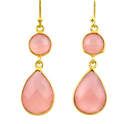 Talia Rose Quartz Duo Earrings - Revital Exotic Jewelry & Apparel