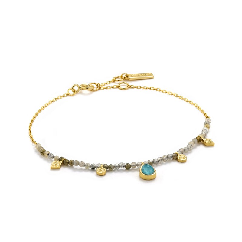 Turquoise and Labradorite Gold Bracelet - Revital Exotic Jewelry & Apparel