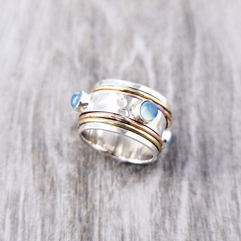 Wish For Aqua Chalcy Spinner Ring II - Revital Exotic Jewelry & Apparel