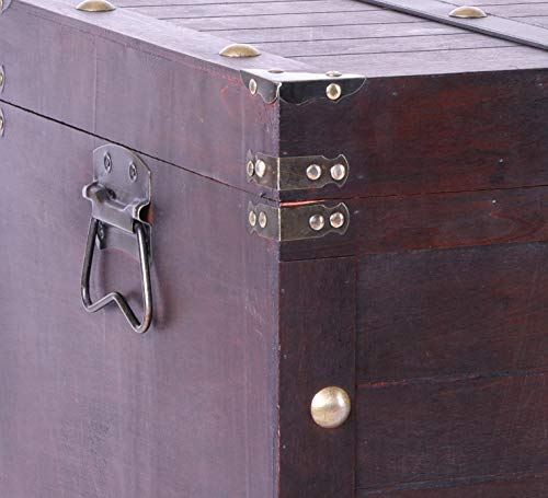 Vintiquewise Antique Cherry Large Wooden Storage Trunk