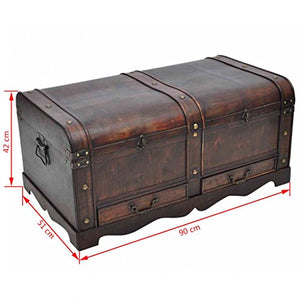 Fesjoy Wooden Treasure Chest Old-Fashioned Antique Vintage Style Storage Box