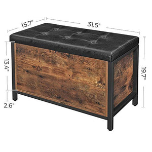 VASAGLE COPADION Storage Bench, Flip Top Storage Ottoman and Trunk with Padded Seat