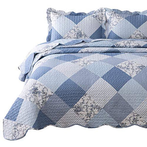 Bedsure 3-Piece Printed Quilt Set, Blue Floral Patchwork Pattern