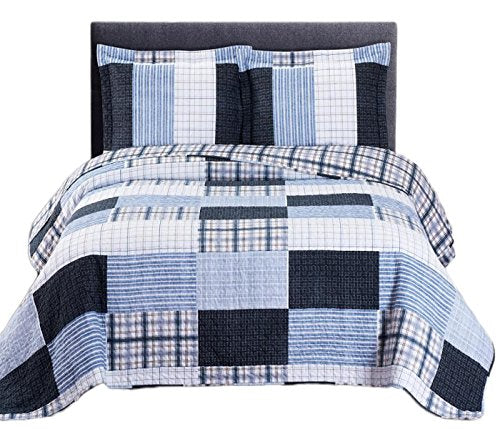 Royal Tradition Printed Patchwork Zoe, Microfiber, Oversized Quilt Set, Blue