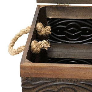 Household Essentials Decorative Wooden Storage Trunk with Handles