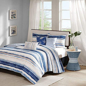 Madison Park Marina 6 Piece Quilted Coverlet Set, Blue