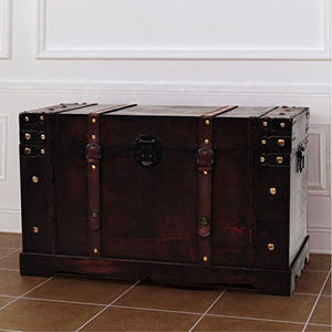Wooden Storage Trunks, Made Pirate Treasure Chest Wooden Iron Lock Leather Chest