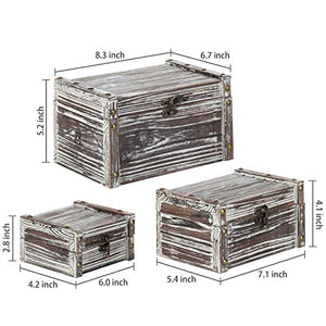 MyGift Set of 3 Rustic Torched Wood Nesting Storage Chests