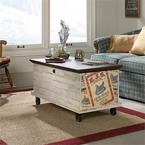 Pemberly Row Rolling Trunk Coffee Table in White Plank