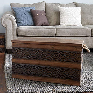 Household Essentials Decorative Metal Banded Wooden Storage Trunk with Handles
