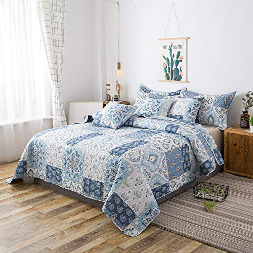 Tache Colorful Print Patchwork Floral Reversible Lightweight Country Quilted Bedspread Quilt Set