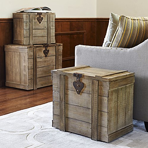 Household Essentials White Washed Rustic Decorative Wooden Trunk