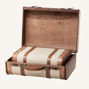 Beige Suitcase Set with Straps