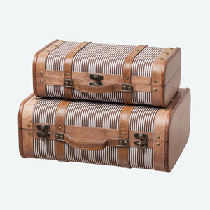 Wooden Suitcase Set with Stripes