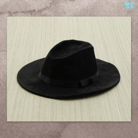 Wide Brim Hat (Black Suede)