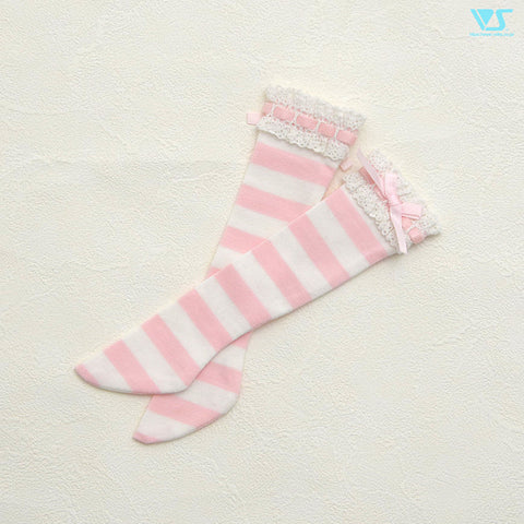 Laced Socks (Pink Stripes) / Mini