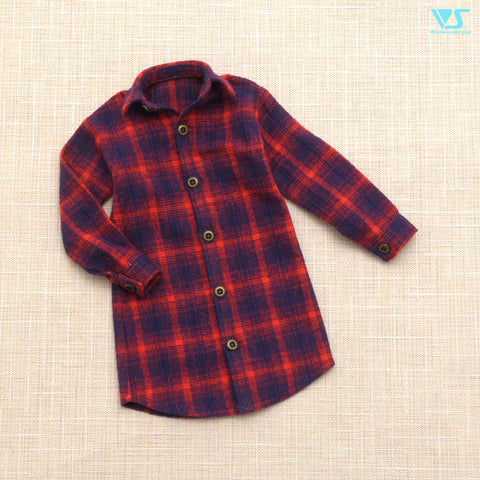 Flannel Checked Shirt (Navy x Red) / M
