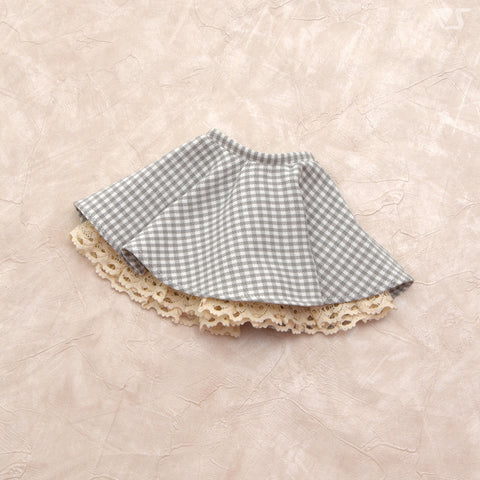 Flared Skirt / Mini (White x Gray Plaid)