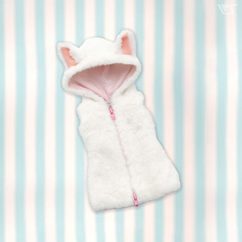 Fluffy White Cat Sleeveless Hoodie