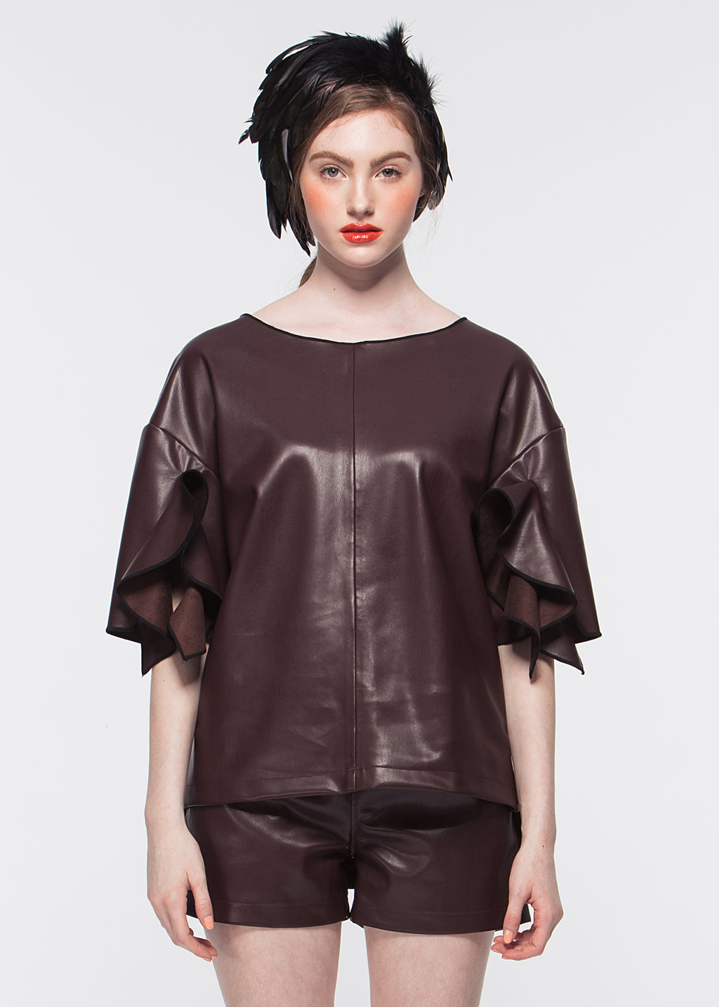 Vegan Leather With Ruffled Sleeves