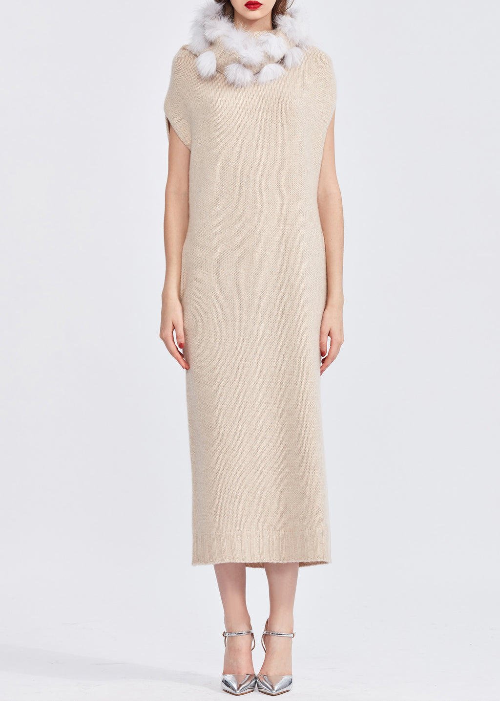 Turtleneck Sleeveless Cashmere Dress with Faux Fur Pom Pom