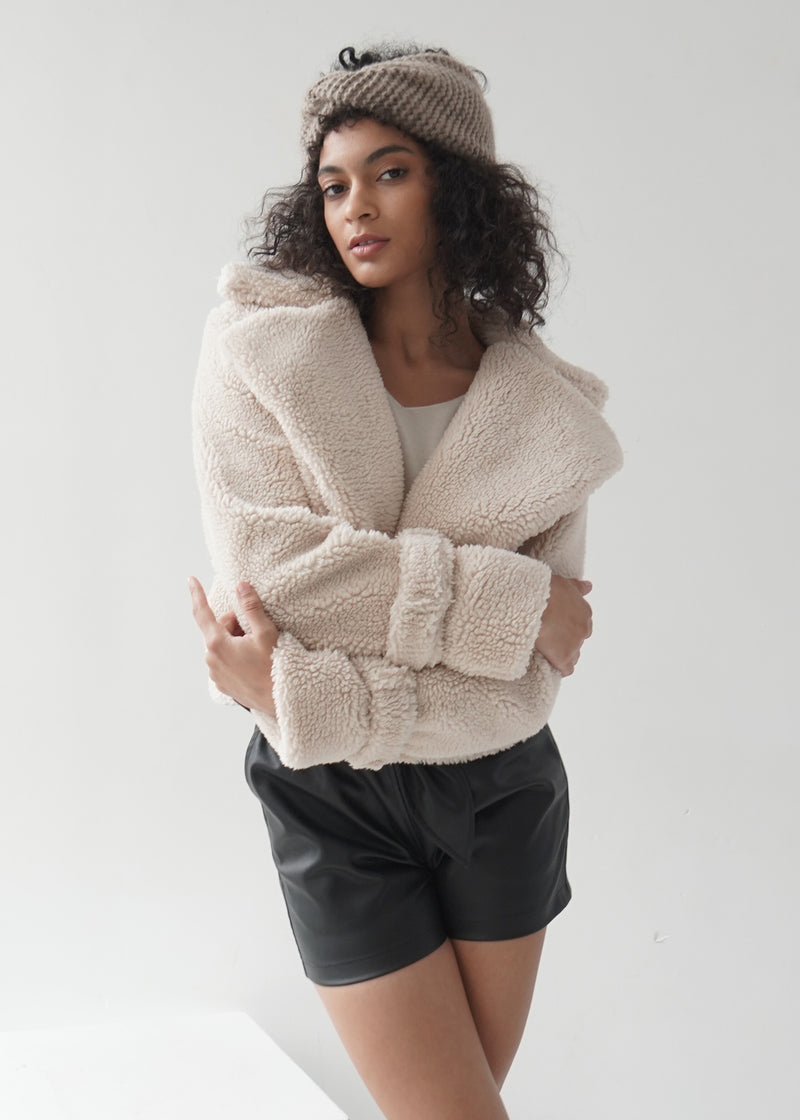 Faux Shearling Cropped Jacket