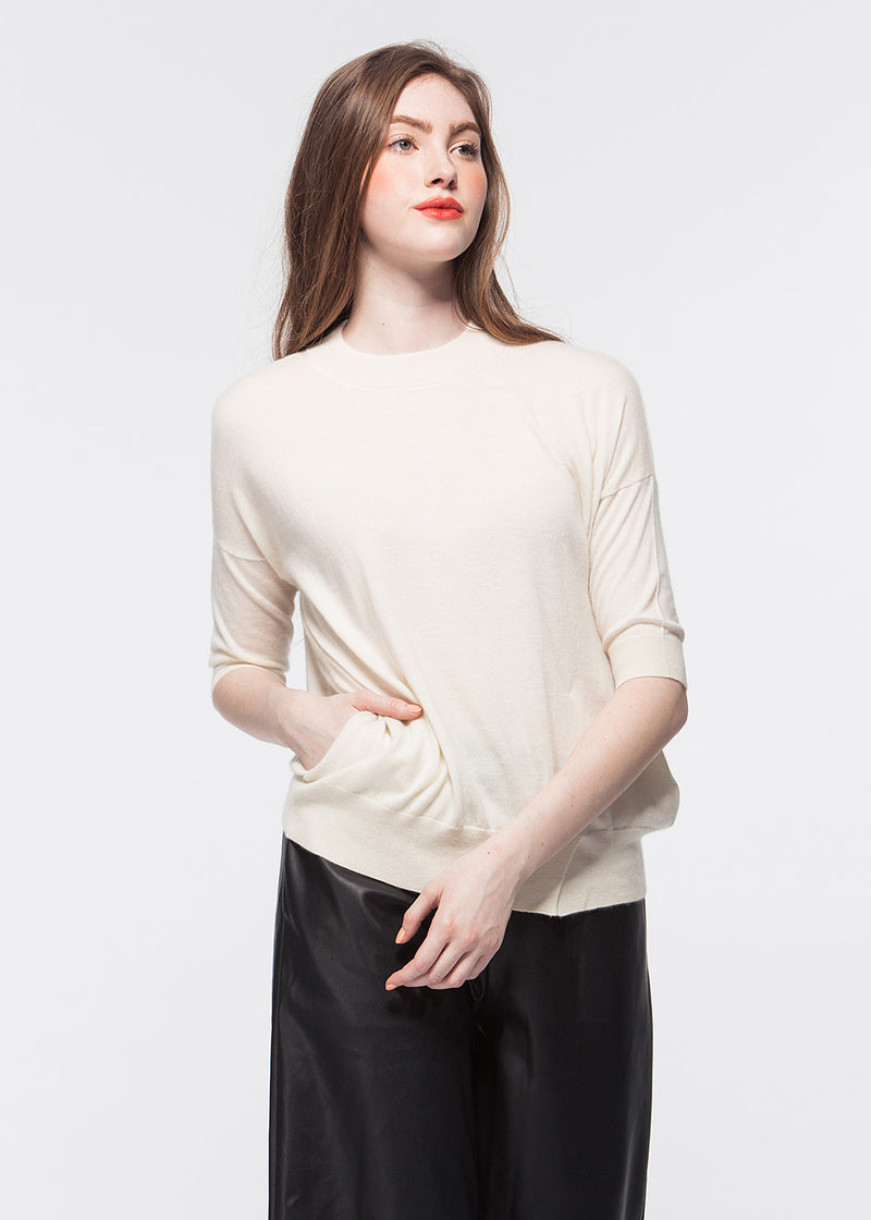 O-neck Elbow-length Sleeve Cashmere Top with Pocket (WHITE) - S, M