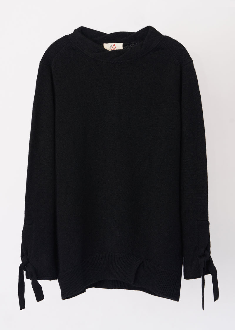 Twist Neck Tie Sleeve Cashmere Sweater (BLACK) - S