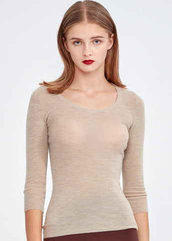 Turtleneck Cashmere Vest with Mink Pom Pom (BEIGE)
