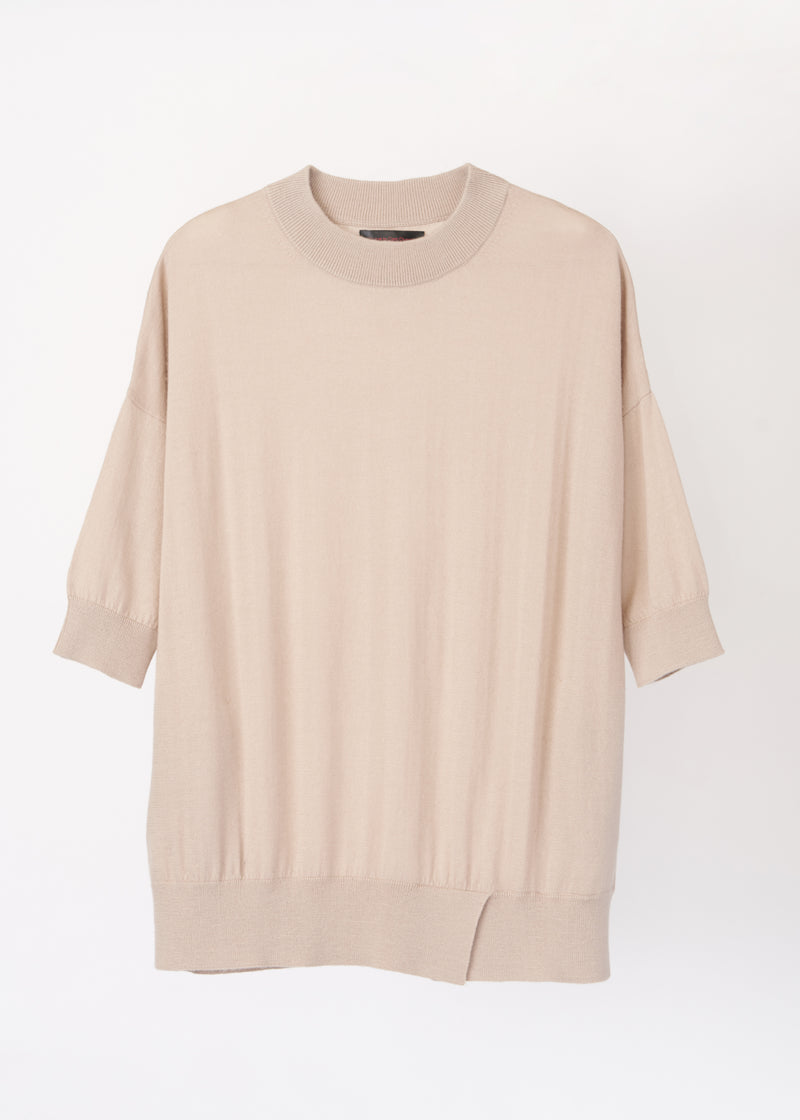 O-neck Elbow-length Sleeve Cashmere Top with Pocket (BEIGE) - M