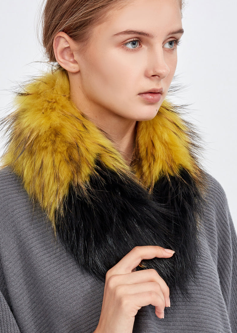 Fur Bag Strap Collar -  Black / Yellow