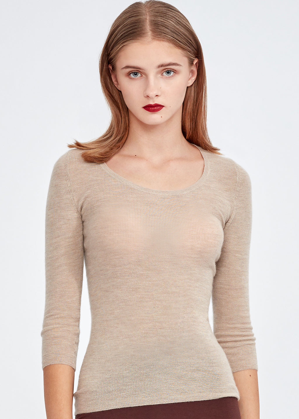 U-neck 3/4 Sleeve Cashmere Top