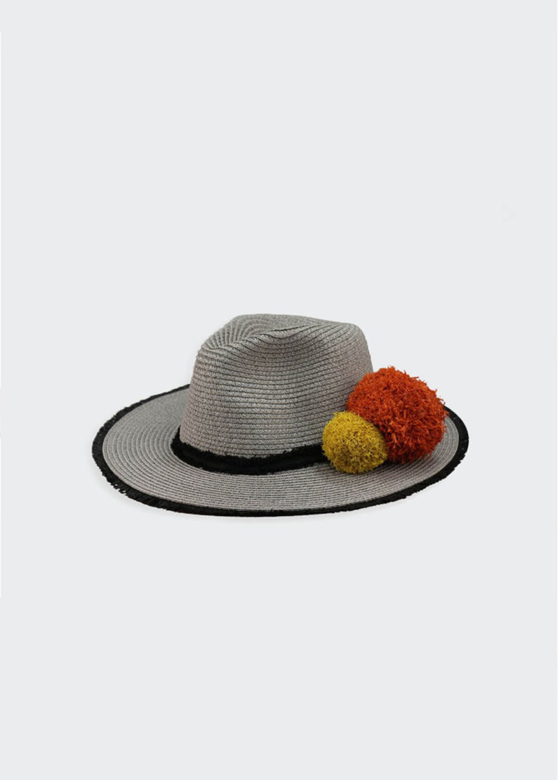 Borsalino Hat With Detachable Raffia Pompoms