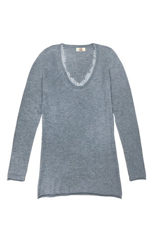 U-neck Cashmere Top with Lace