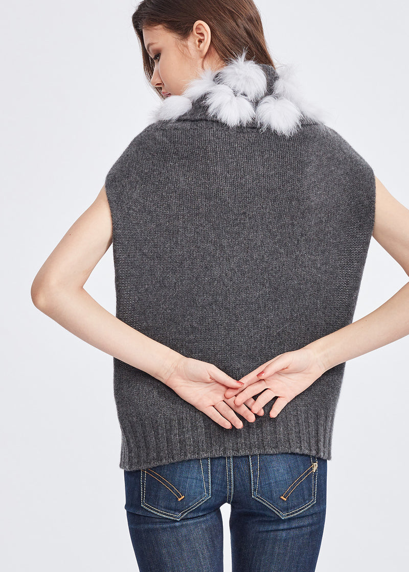Turtleneck Cashmere Vest with Mink Pom Pom (DARK GREY)