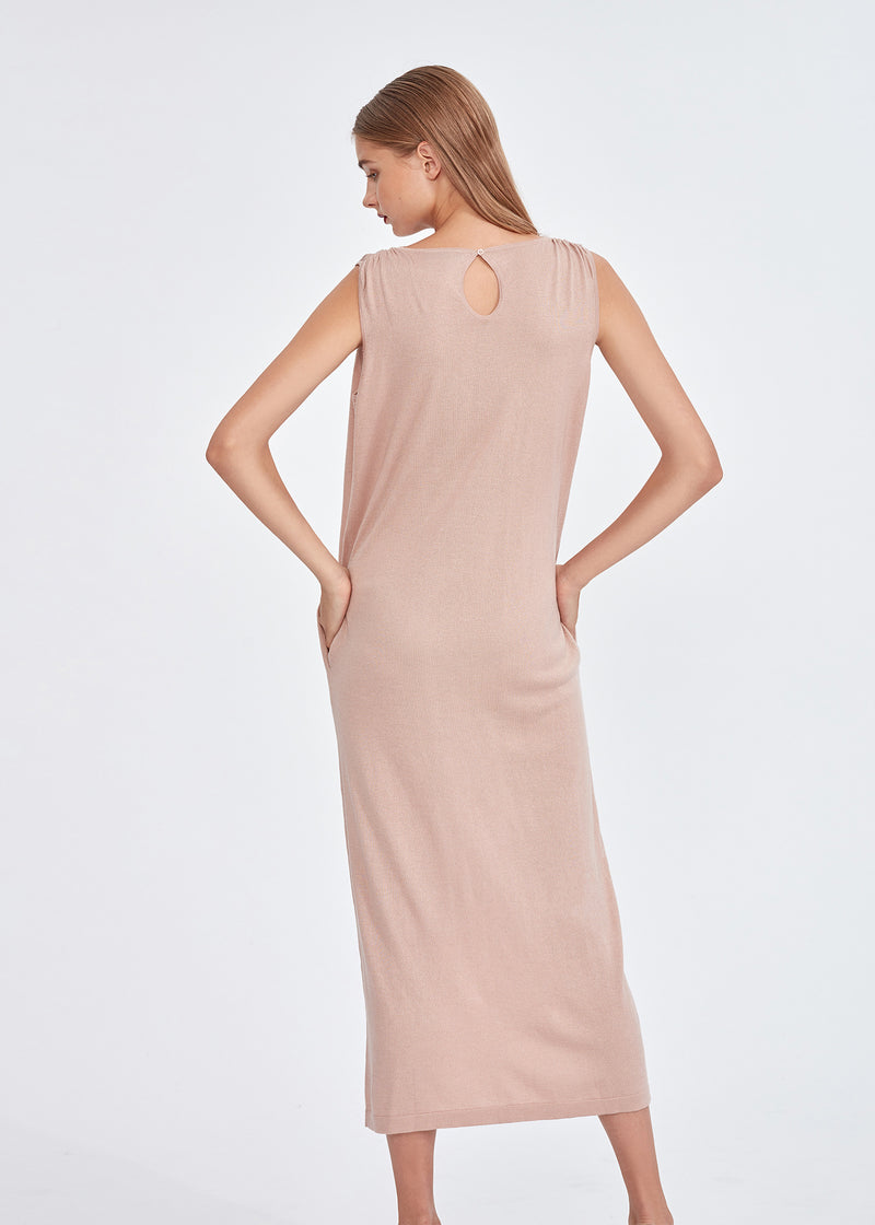 V-neck Silky Cashmere Long Dress