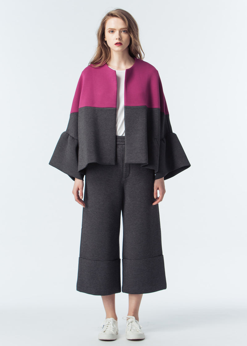 Scuba Oversize Coat with Frilled Cuffs
