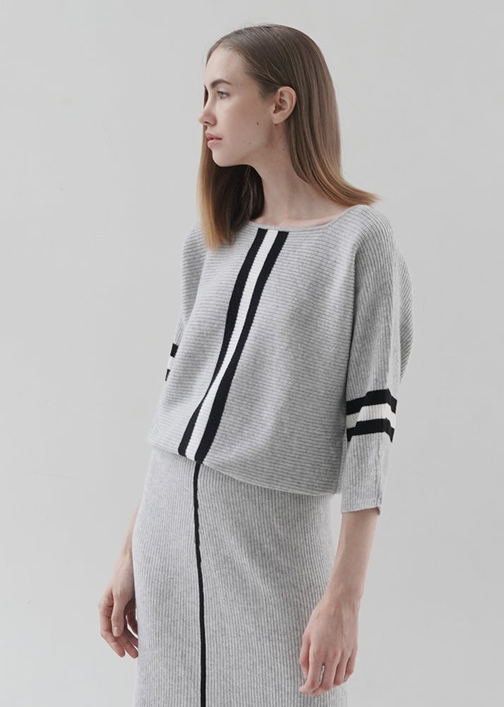 Boat Neck 3/4 Sleeve Cashmere Top